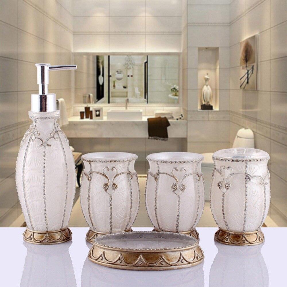 caliente blanco perla conjunto de 5 unid ba o de resina de la vendimia francia dise o de. Black Bedroom Furniture Sets. Home Design Ideas