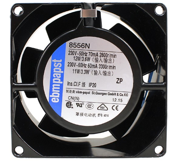 The new German EBMPAPST 8038 8cm 230V 8556N 80 * 80 * 38MM All metal temperature cooling fan new original german ebmpapst 4606n 120 38mm ac110v 0 23a 20w high temperature axial radiator cooling fan