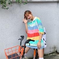 Harajuku Rainbow Striped T Shirts Women Causal Clothes Korean Short Sleeve Colorful Oversized Tops Kpop Kawaii Tee Girl Tshirt
