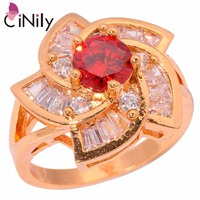 CiNily Garnet Blue White Zircon Cubic Zirconia Yellow Gold Color Wholesale Hot Jewelry for Women Ring Size 7.5 8 8.5 NJ10601-02