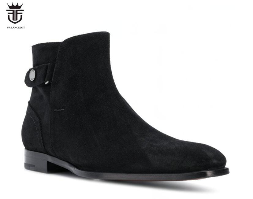Couro Shoes Boots Sapatinho Partido Volta Chelsea De Fr Preto Camurça Up 2019 Novos Cinta Ankle Low Lancelot Homens Meia Zip Botas Top 4qPXwTf