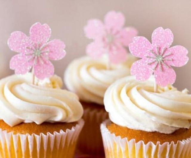 Gateau En Papier Fleur Rose Cartes Banniere Pour Cupcake Cuisson