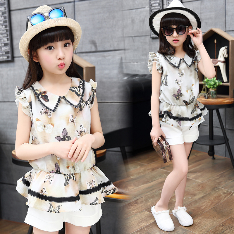 Children's girls summer suit 2017 new  baby girls floral sets clothing 4 - 14 years kids chiffon tops +shorts  twinset brand 2016 new summer baby sport suit 100