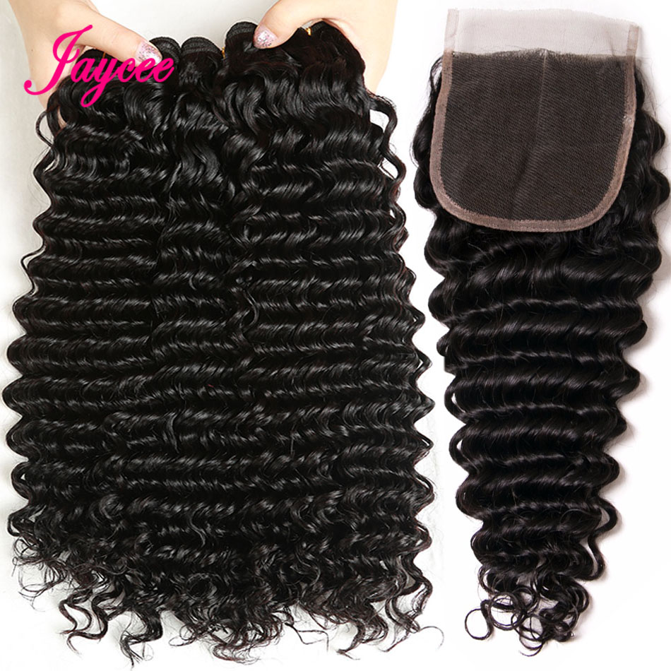 Jaycee Human Hair Deep Wave Bundles With Closure non-remy Brazilian Hair Weave Bundles With Closure 3 Bundles With Closure