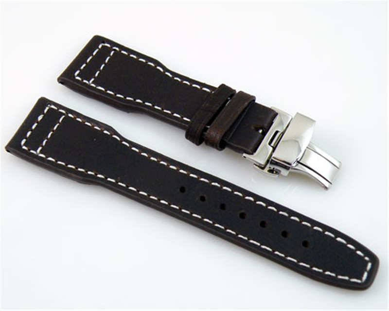 22mm Genuine Leather Watchband Strap Stainless Steel Deployment Buckle fit Parnis Watch,Watch Accessories Watches Parts