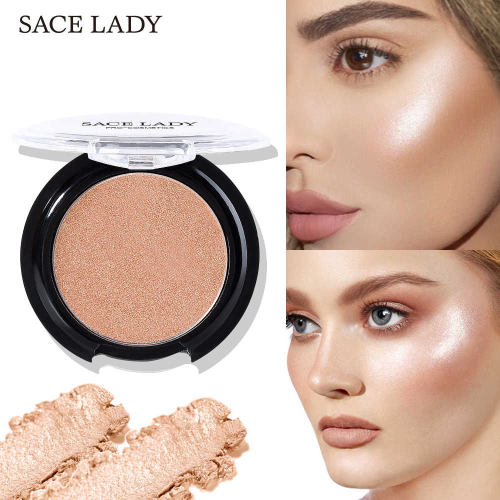 SACE LADY Highlighter Powder 6 Colors Face Iluminator Makeup Professional Glitter Palette Make Up Glow Kit Brighten Cosmetic