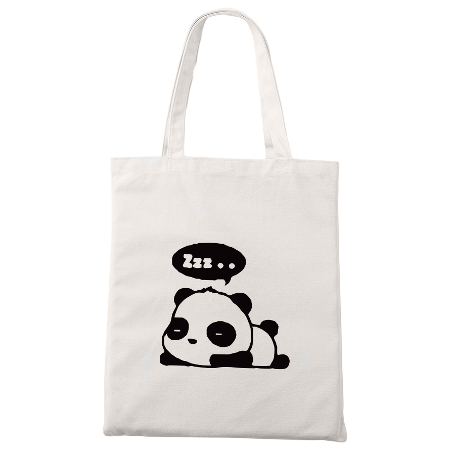 Cute Panda Canvas Bag Kawaii Animal Fashion Shopping Travel Large Reusable Tote Bags Men Women