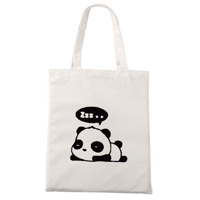 e02036de4243 US $5.69 5% OFF|Cute Panda Canvas Bag Kawaii Anime Fashion Shopping Travel  Large Reusable Tote Bags Men Women-in Shopping Bags from Luggage & Bags on  ...
