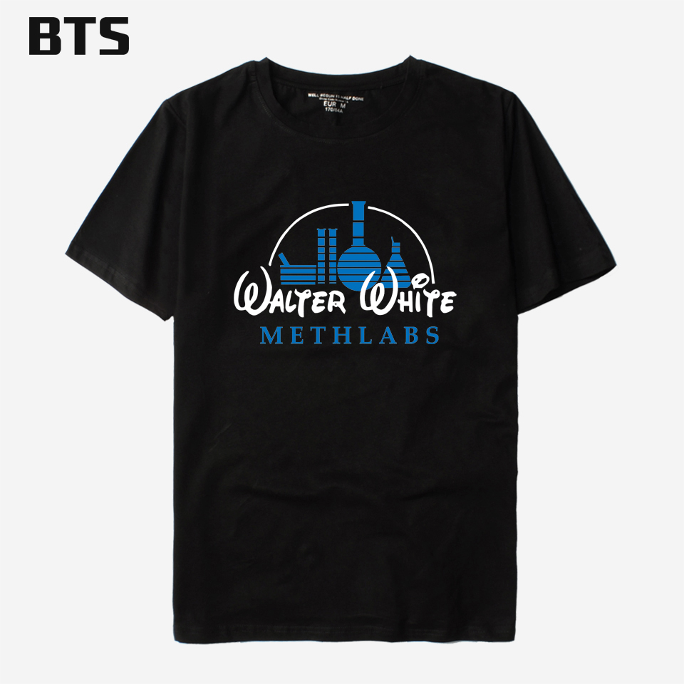 BTS Breaking Bad T-Shirt Da Uomo In Cotone Meth Lab Heisenberg Magliette di Cotone Men Divertente Hip Hop Primavera-Estate Tee Shirt Lunga Big Size