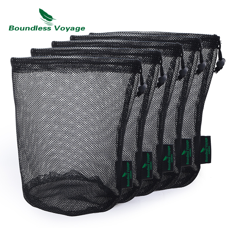 Boundless Voyage Durable Nylon Mesh Drawstring Bag For Cutlery Bottle Pot Pan Kettle Mesh Storage Ditty Bag Travel Stuff Sack
