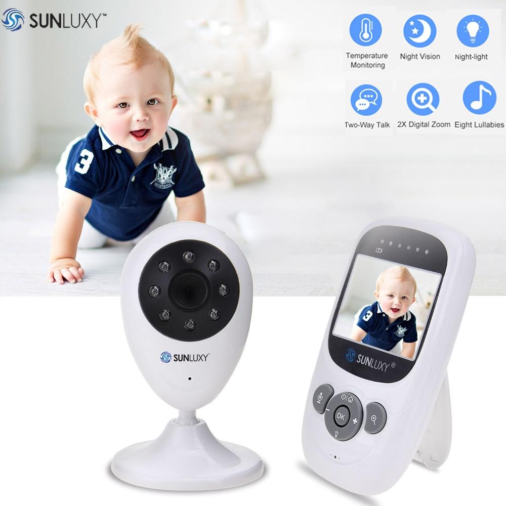 SUNLUXY 2.4 inch Video Baby Monitor Digital LCD 2.4GHz Wireless Night Light Baby Camera Zoom Two Way Talk Babycam Music Battery help your baby talk