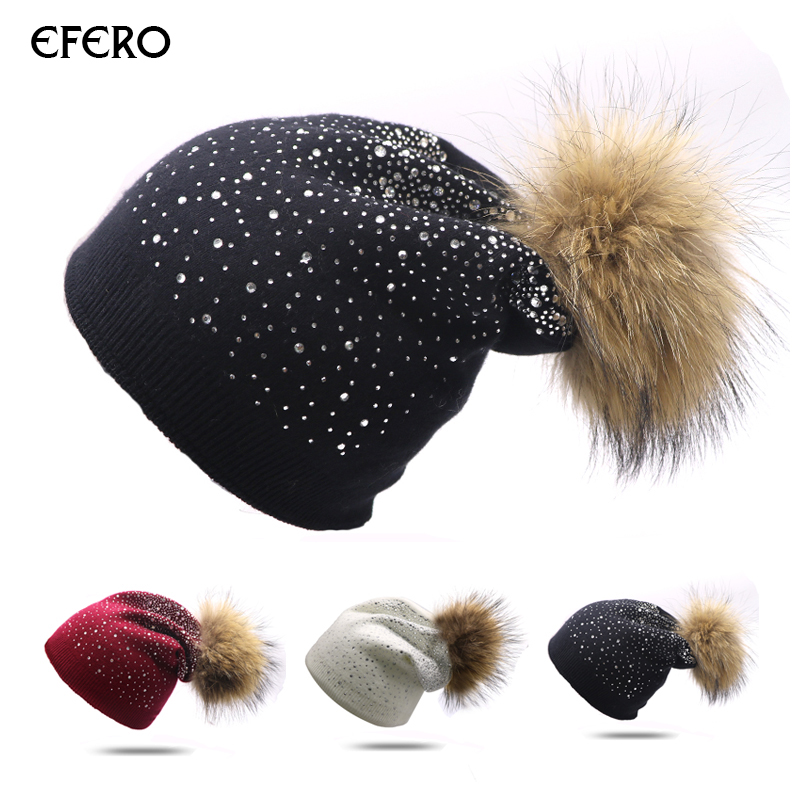 1pcs efero Female Winter Hat Pom Poms Knitted Hat   Beanies   For Women Rhinestone   Skullies     Beanies   Hat Cap Casual Gorros Female Cap