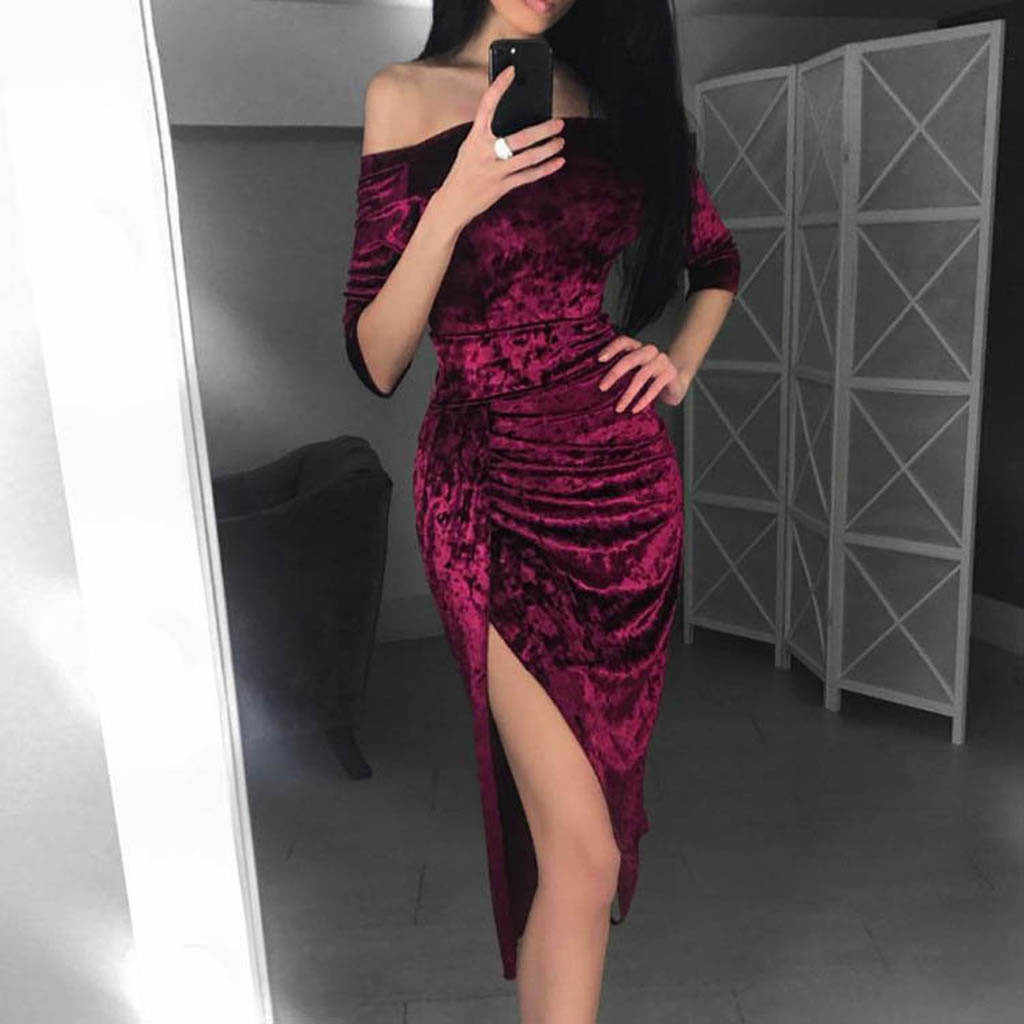 Sexy dresses Womens Off Shoulder High Slit Party Evening Pencil Women Dress  Fashion Ladies Long Vestidos a0c0aabd0ef7
