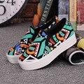 Slipony Muchacha de Las Mujeres 2016 Nuevo Calzado Mujer Resbalón En los Zapatos Ocasionales de la Plataforma Flatform Otoño Graffiti Punta Redonda Pisos Holgazán
