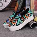Slipony Women Girl 2016 New Footwear Female Slip On Platform Casual Shoes Flatform Autumn Graffiti Round Toe Loafer Flats
