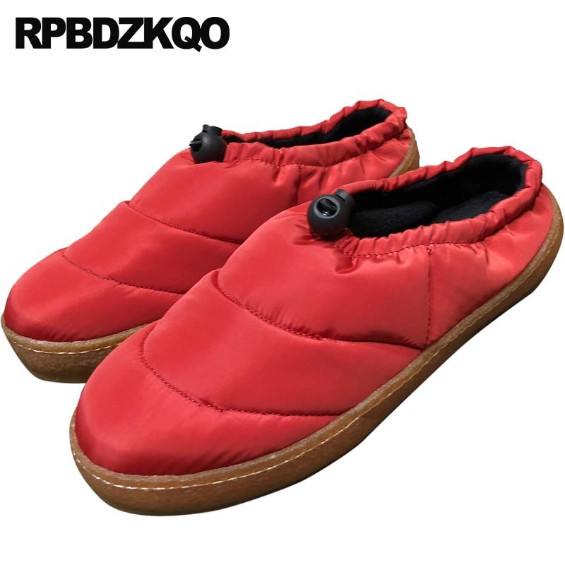 Appartements Chine Chaussures Pantoufles Rouge Fourrure rouge Rond Chinois Semelle Slip Sur Mules Designer En Noir Hiver Bout Femmes Dames De Caoutchouc 2018 Casual Noir R4q06