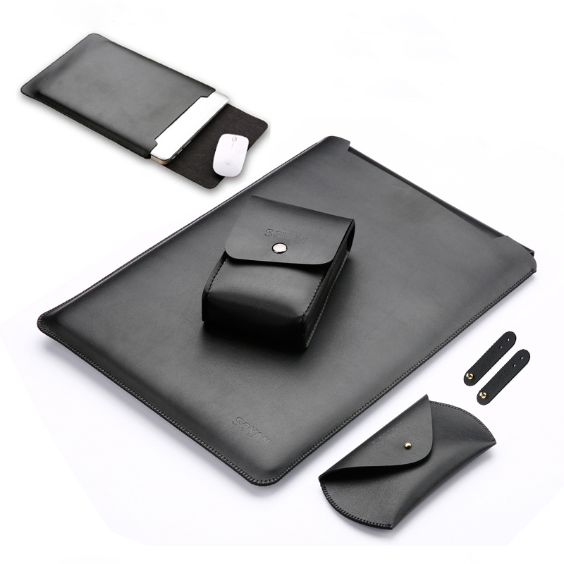 Hot Leather Pu Sleeve For Macbook 11 12 13 14 15 inch Laptop Bag For Mac Air Pro Retina With Mouse Bag bobbin winder Storage bag