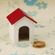 G06-X723 children baby gift Toy 1:12 Dollhouse mini Furniture Miniature rement Kennel and dog food dish 2pcs/set