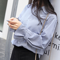 2017 fashion New Fashion Lady Style Shirts Cotton Blouses Women Business Uppers Striped girl Long blue casual