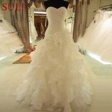SL 7070 رائجة البيع الصورة الحقيقية الأورجانزا فستان زفاف الحبيب الكشكشة خمر فستان الزفاف حجم كبير