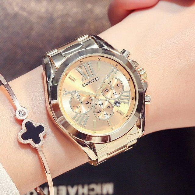 80413126a4f Reloj de pulsera de mujer de oro de lujo GITMO reloj de pulsera de cuarzo  Casual