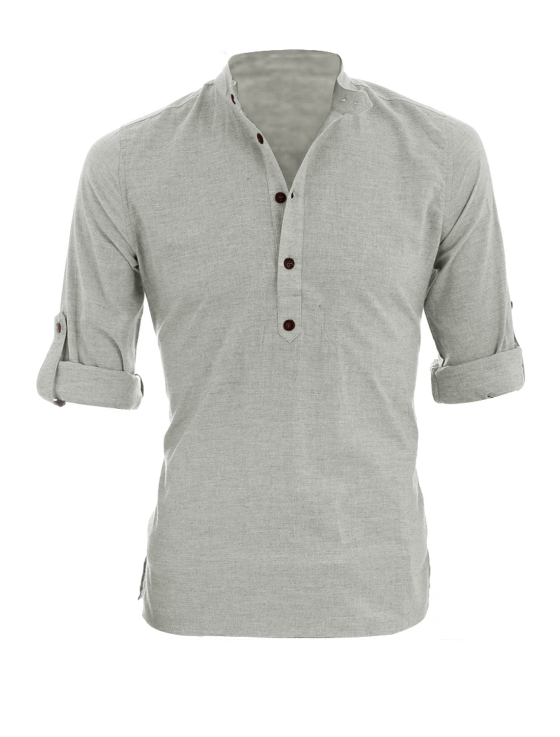 Black t shirt rolled up sleeves - Allegra K Men Half Placket Roll Up Sleeves Heathered Henley Shirt China Mainland