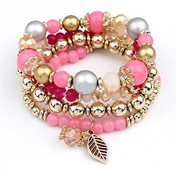 Fashion Multilayer Crystal Beaded Bracelets Bracelets Jewelry Women Jewelry Metal Color: pink