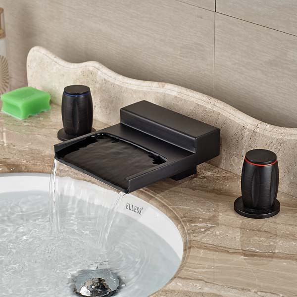 Round Handles Oil Rubbed Bronze Waterfall Bathroom Faucet 3 Holes ...