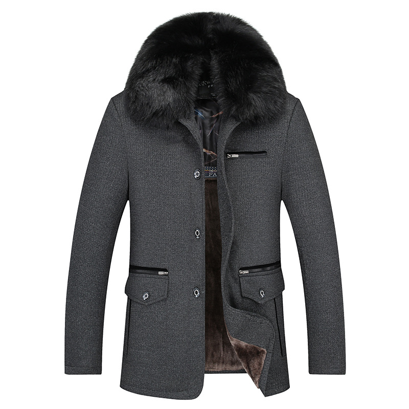 2016 Middle Aged Men Winter Jackets Parker loose thickening cotton warm hooded jackets collared men s