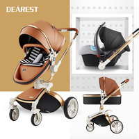 Dearest Winter Baby Stroller 3 in 1 Luxury Leather Baby Pram