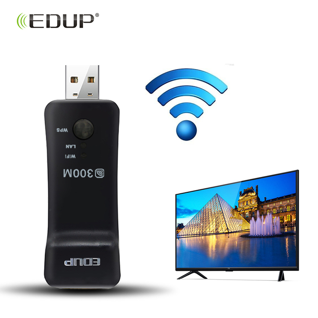 US $16 99 |EDUP 300Mbps Wireless Smart TV Network Card 2 4GHz Universal  Smart TV WiFi Adapter USB WiFi Repeater for Smart TV/player/TV Box-in  Network