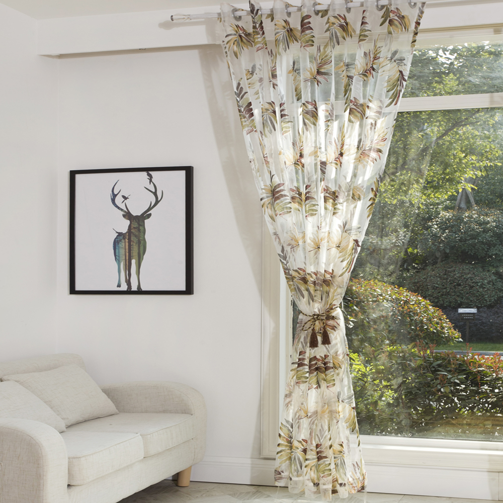 P.O.F Curtain for living room tulle sheer curtain for bedroom nature ...