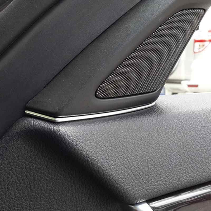 2 Chiếc Xe Ô Tô Mặt Trước Loa Cửa Nội Thất Ô Tô Phụ Kiện Bao Da Khe Hở Viền Bạc ABS Nội Thất Mouldings Cho Xe BMW Series 5 f10 2011-2013