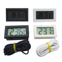 1Pcs LCD Digital Thermometer 1/2/3/5m Lengthening the Induction Line Waterproof Freezer Aquarium Thermometer Sensor Station(China)