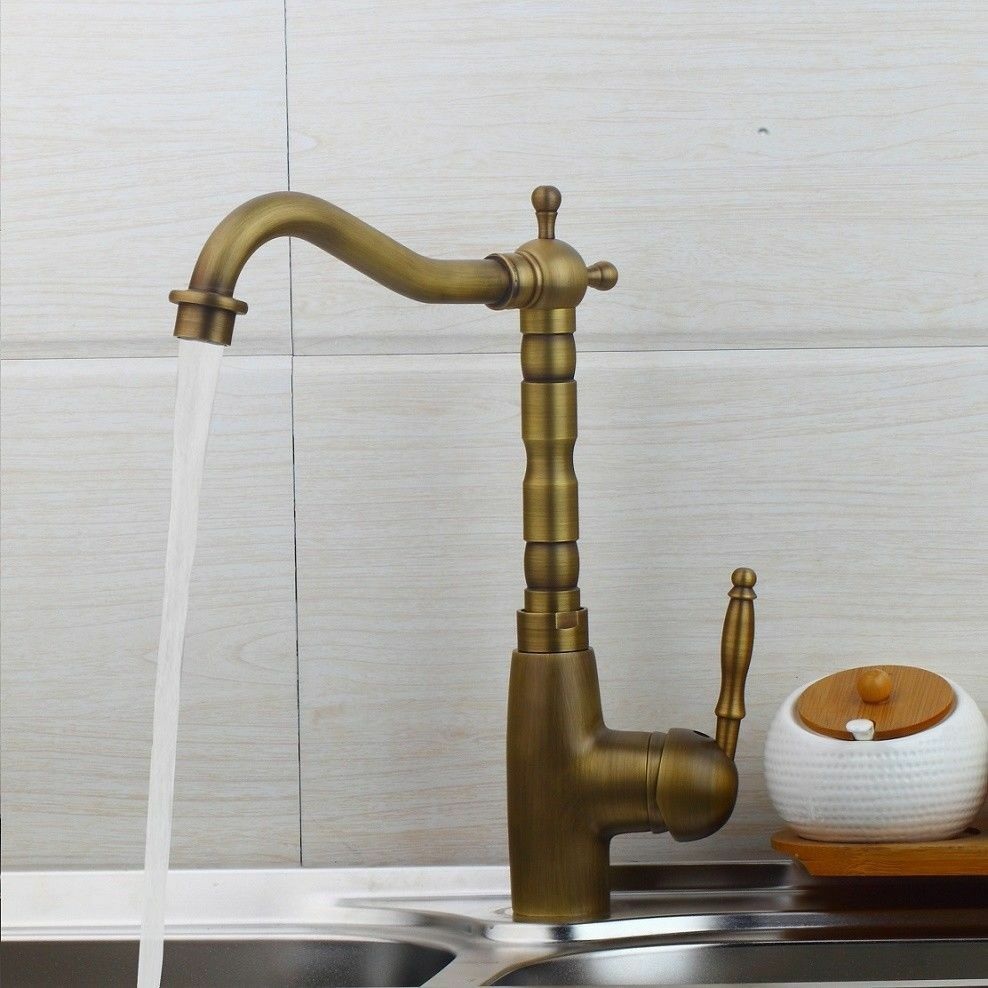 Antique Brass Kitchen Faucet Bronze Single Handle Hot And Cold Water Kitchen Sink Tap 360 Swivel Bathroom Sink Mixer Tap