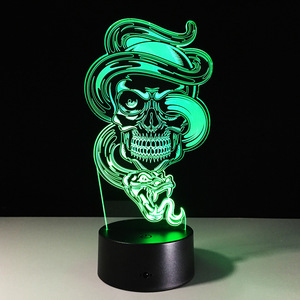 Image 5 - 3D LED Color Night Light Changing Lamp Halloween Skull  Light Acrylic 3D Hologram Illusion Desk Lamp For Kids Gift Dropship