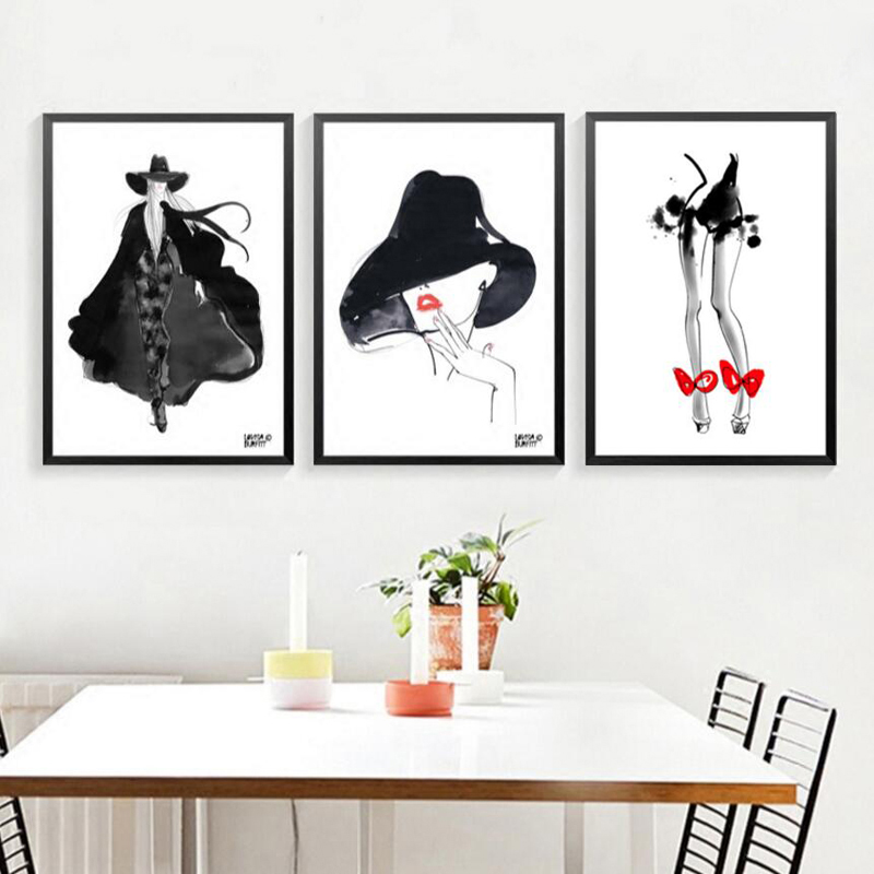 Black Canvas Painting Canvas Print Abstract Figures Minimalist Wall Art Fashion Women Wall Painting Home Decor FG0102 in Painting Calligraphy from Home Garden
