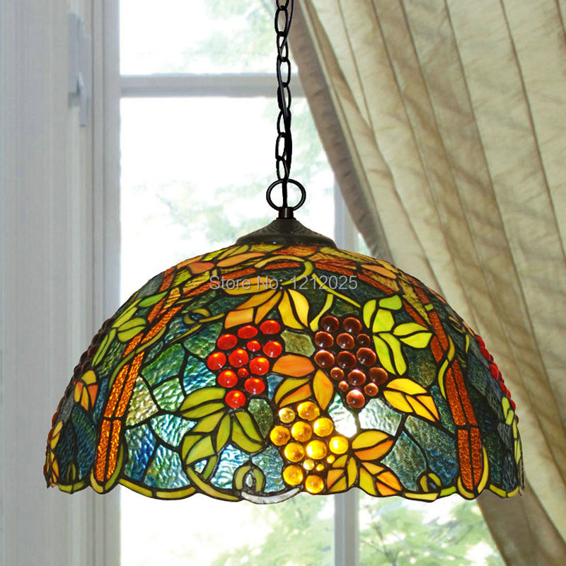 Lustre Tiffany Style Grape Pendant Lamp Dinning Light Bedroom Kitchen Stained Glass Lampshade
