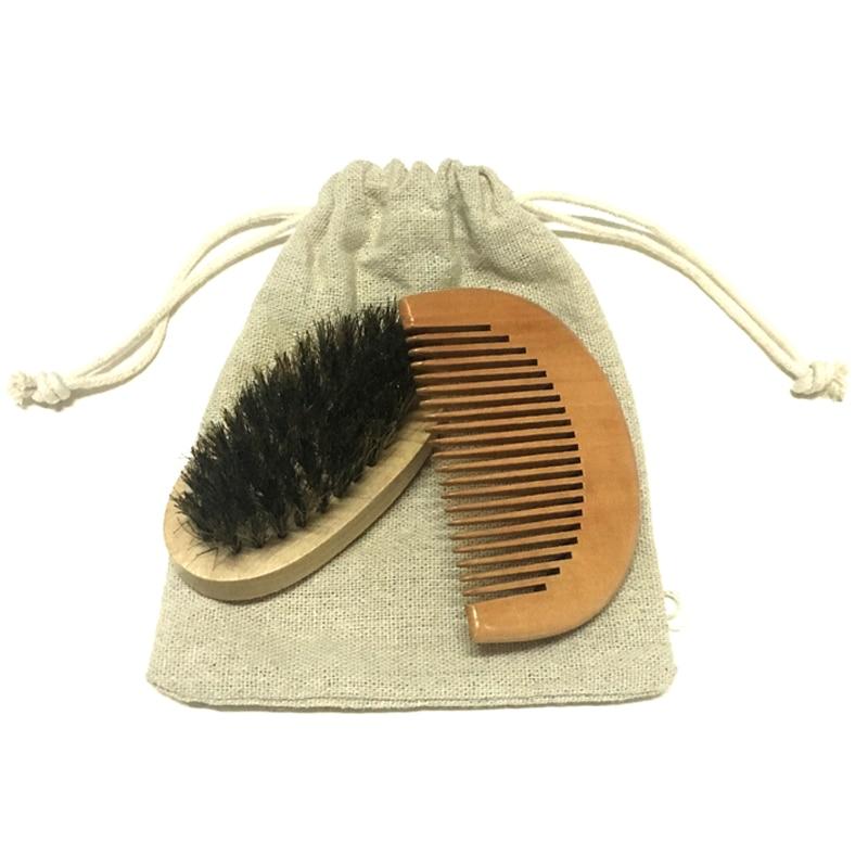 2 unids / set Barba cepillo y peine y madera de loto bambú Cuidado del Cabello Styling Man Gentleman cepillo de cerdas plantilla barba herramientas de aseo