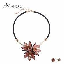 eManco Trendy Acrylic Flower Statement Pendants Necklaces Women PU Leather Rhinestone Top Brand Chain Collar Necklace Jewelry