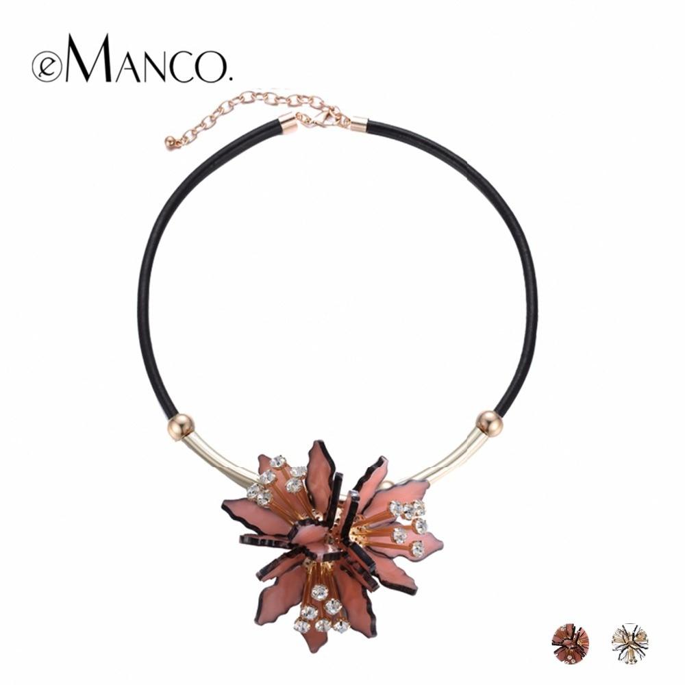eManco divatos akril virág nyilatkozat medálok nyakláncok Női PU bőr strasszos márka lánc nyaklánc ékszerek