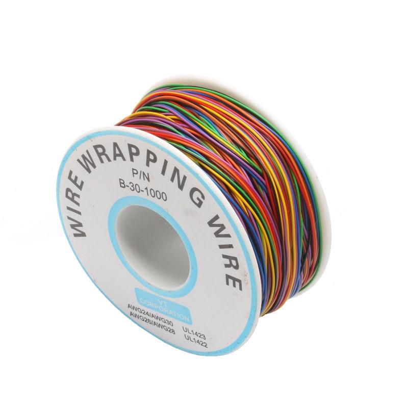 Один рулон 8 цветов 30AWG провода оберточная проволока, луженая медь твердая, ПВХ изоляция