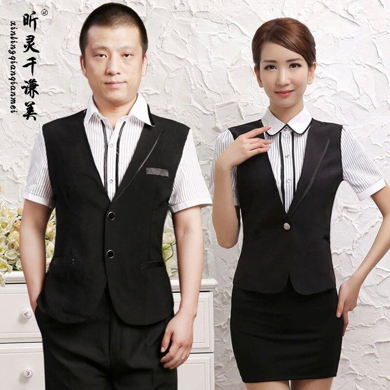 Hotel Uniform Summer Female Cashier Work Cafe Restaurant Waiter Short Sleeved Vest Work Suit J062