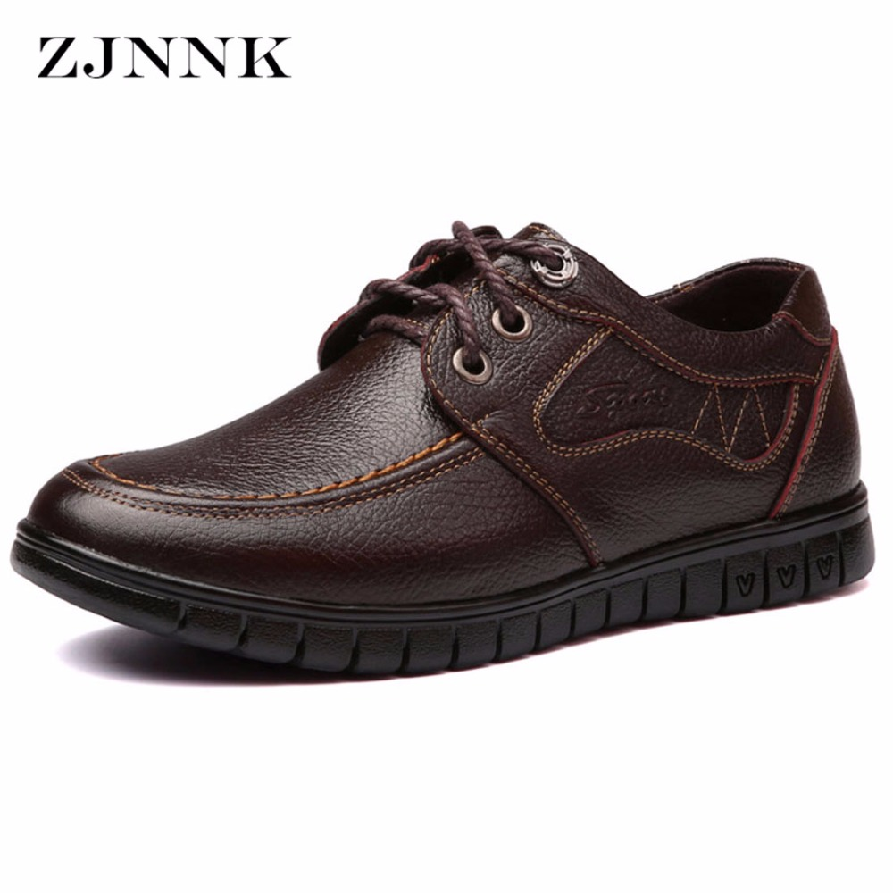 ZJNNK Italian Style Men Flats Genuine Leather Shoes Black Brown Handmade Men Oxfords Zapatos Hombres Fashion Men Leather Shoes