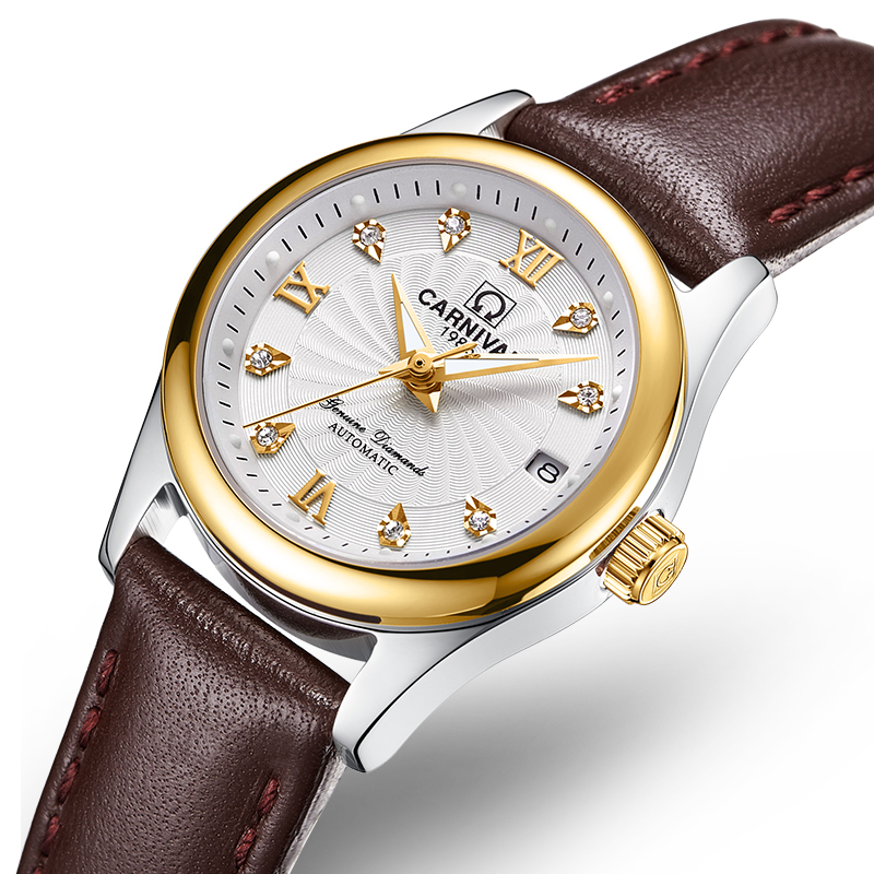Carnival Women Watches Luxury Brand ladies Automatic Mechanical Watch Women Sapphire Waterproof relogio feminino C-8830-11 2017 carnival luxury brand mechanical watch women leather bracelet waterproof sapphire mirror stainless steel automatic watches