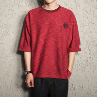 YINOS Drop Shoulder Fish Cat Patch Embroidery T Shirt Man Three Quarter Male Shirts Homme Fashion