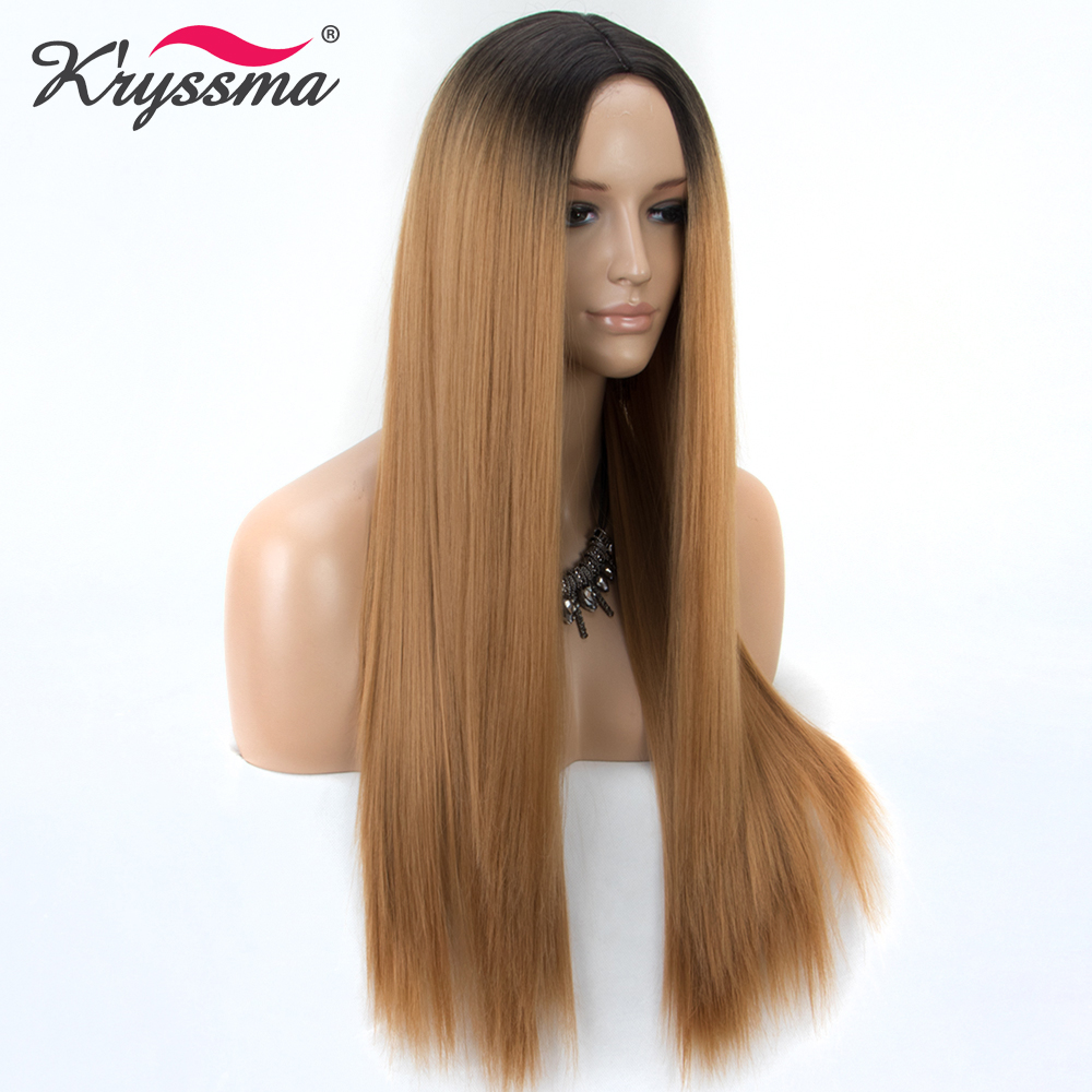 Synthetic Wig Brown Ombre Wig Blonde Long Straight Wigs For Women Black Roots Middle Part 130% Density Heat Resistant Fiber