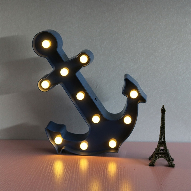 2017 new 11 led anchor plastic marquee dark bluered indoor night 2017 new 11 led anchor plastic marquee dark bluered indoor night light wall lamps aloadofball Choice Image