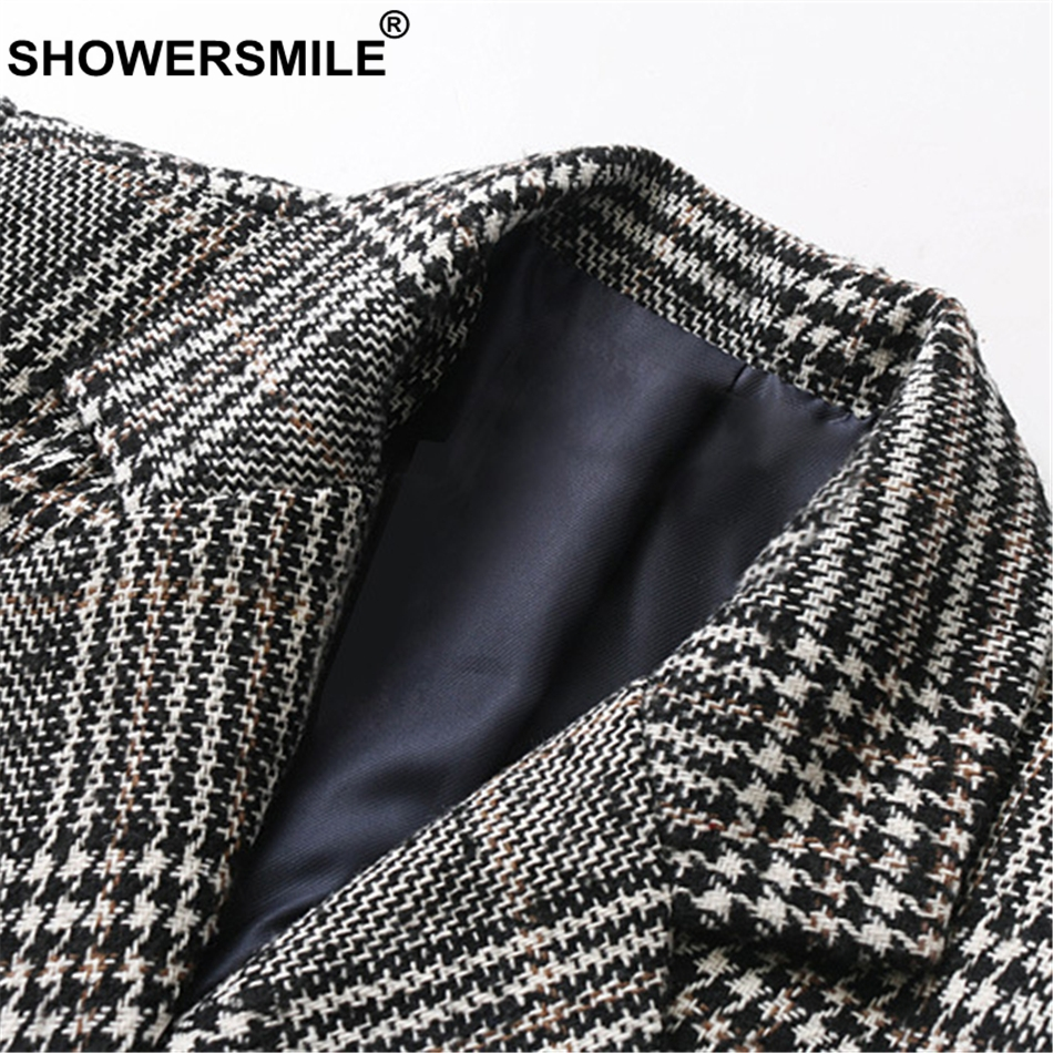 SHOWERSMILE Houndstooth Women Blazer Jacket Double Breasted Blazer Coat Female Autumn Winter Plaid British Style Suit Jacket