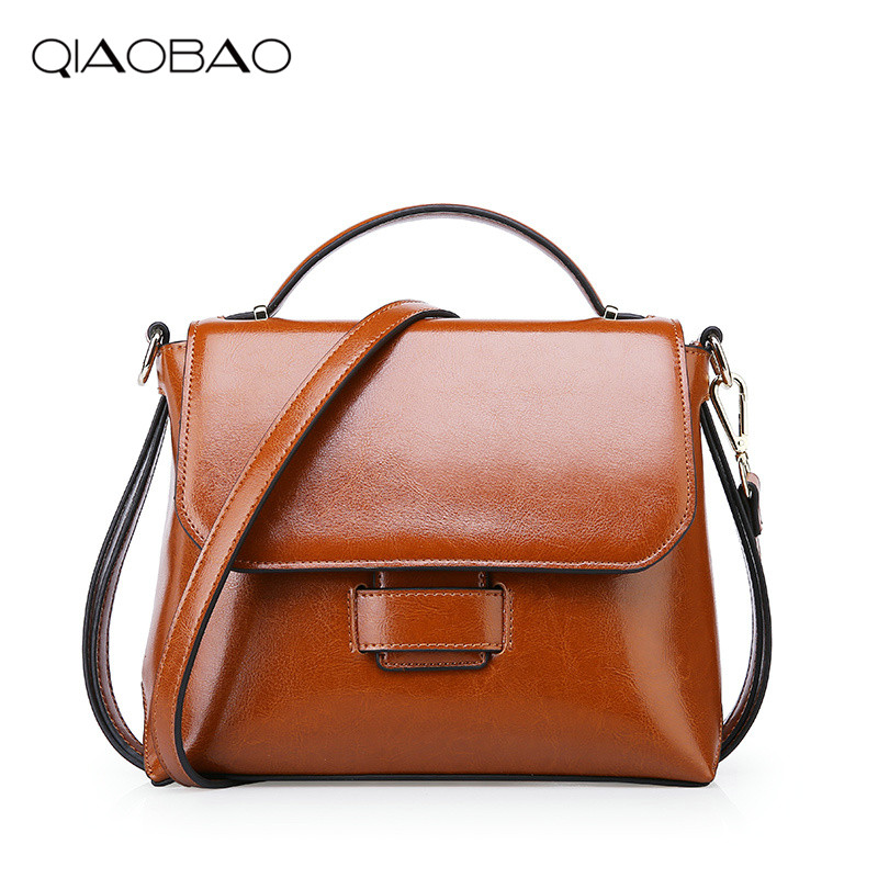 QIAOBAO Hot sale 2018 Vintage Cute Handbags 100% Genuine Leather women Famous Brand bags Crossbody bags Female messenger Bag hot sale 2017 vintage cute small handbags pu leather women famous brand mini bags crossbody bags clutch female messenger bags